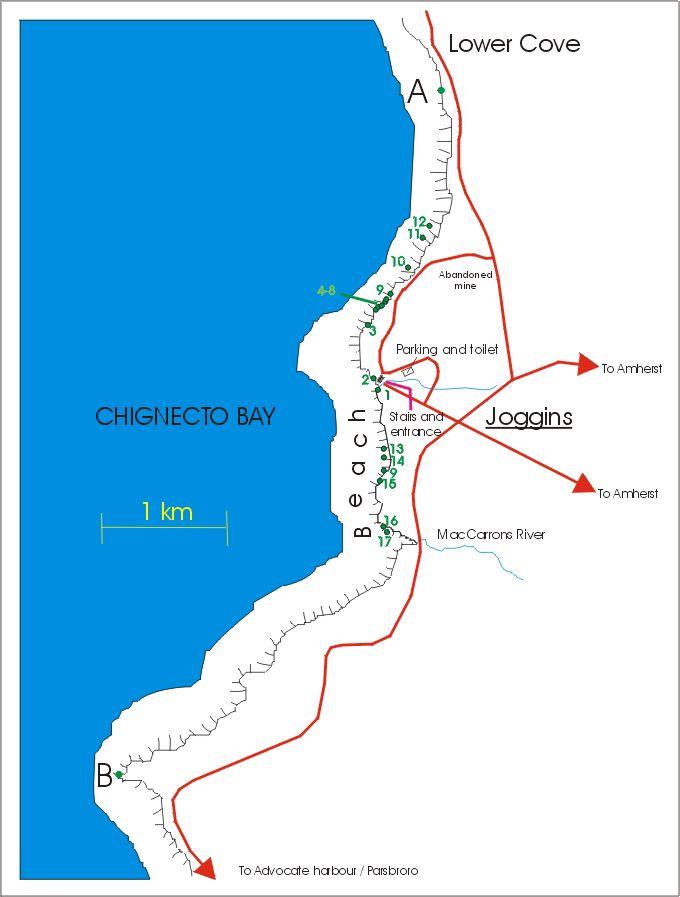Map of Joggins fossil cliffs